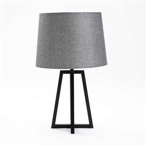 decofurn furniture lamp table black metal base grey