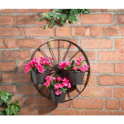 B M Gt Wagon Wheel 3 Pot Wall Planter 287245 Wagon Wheel Planter