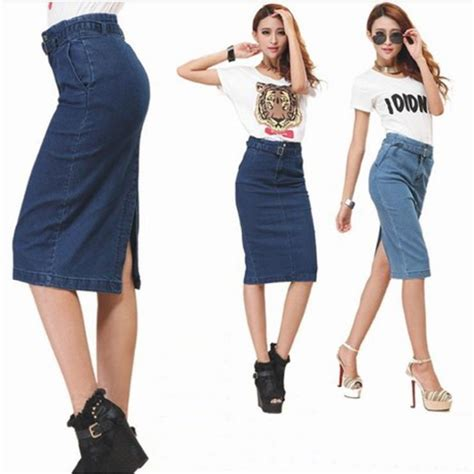 new 2014 autumn skirts womens casual knee length denim