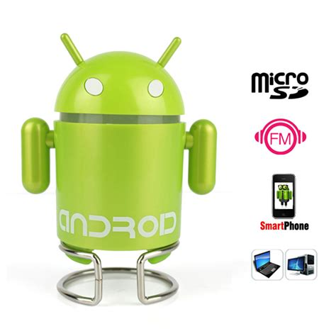 Android Robot Mp3 Player Tf Card With Small Clip android robot portable mini speaker with tf card slot