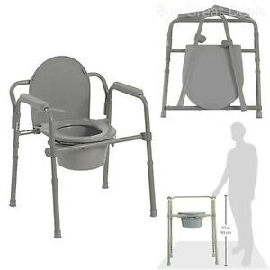 Senior Potty Chair - adjustable bedside commode toilet seat riser fold chair