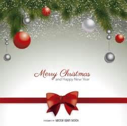 christmas postcard with red bow and christmas balls free