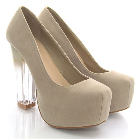 new womens court shoes concealed platform perspex