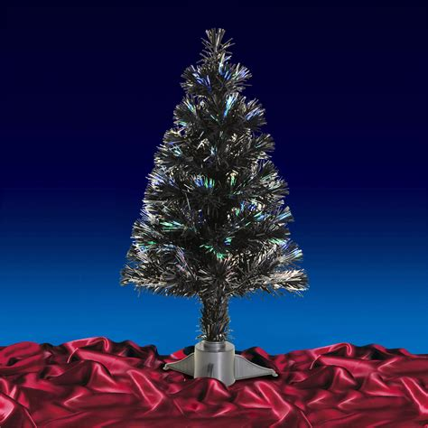 gorgeous mini black fibre optic christmas tree 2ft 60cm