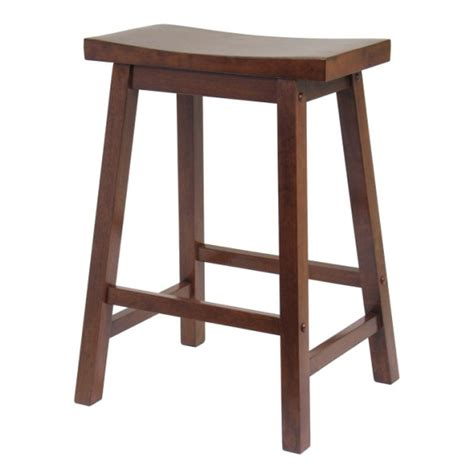 Stool For Kitchen Island Winsome Wood Kitchen Island With 2 Saddle Seat Stools Antique Walnut 94344