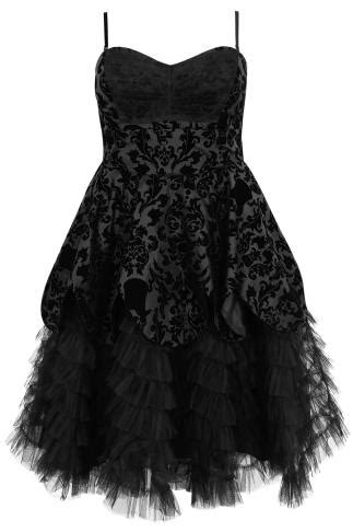 HELL BUNNY Black Jacquard Print Layered Net Dress