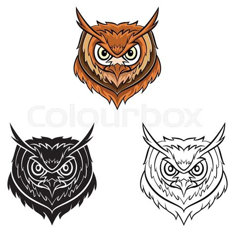 owl head coloring page coloring book owl head cartoon character stock vector
