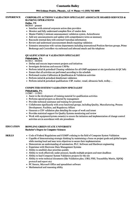 Asset Protection Specialist Cover Letter by Validation Specialist Sle Resume Caregiver Cover Letter Sle