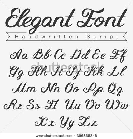design font uppercase elegant handwritten script font design vector calligraphy