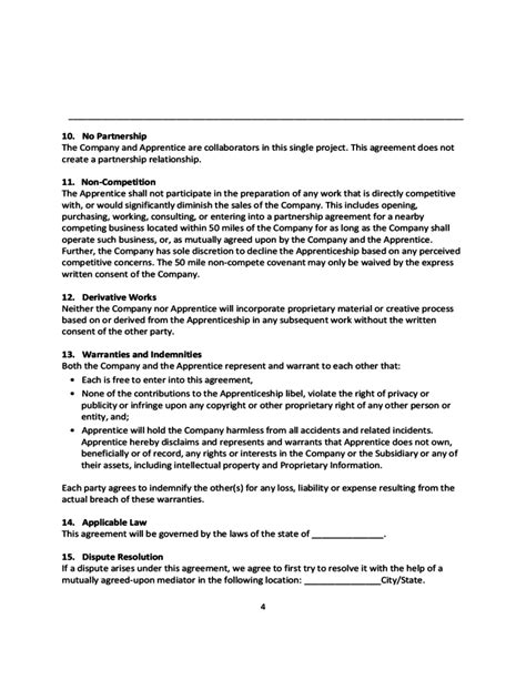 apprenticeship agreement free download