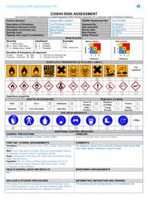 Coshh Assessment Template by February 2015 Aldous St