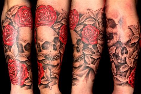 skull roses sleeve tattoo designs known this for a time it just gets better