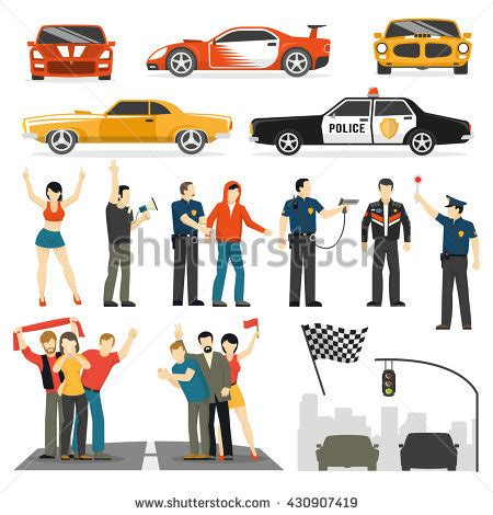street racing design elements vector street racing competition flat elements collection with