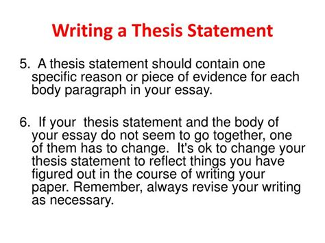 thesis statement for change ppt writing a thesis statement powerpoint presentation