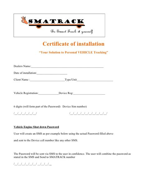 Installation Certificate Template smart track certificate of installation