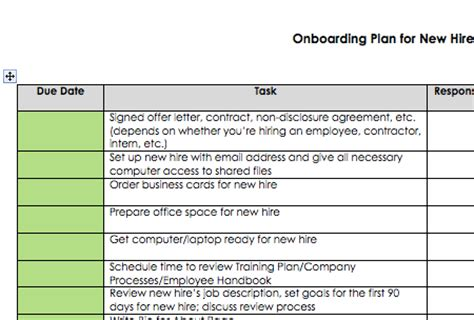 Onboarding Plan For New Hires Sage Wedding Pros Onboarding Plan Template