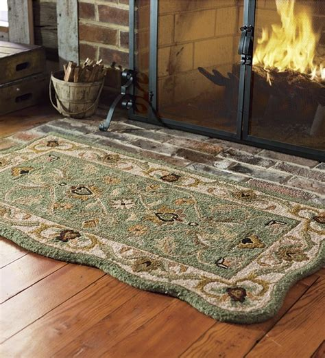 fireplace fireproof rugs tufted resistant scalloped wool mclean hearth rug wool rugs