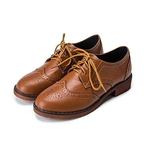 womens brown leather oxford shoes meeshine women s perforated lace up wingtip leather flat
