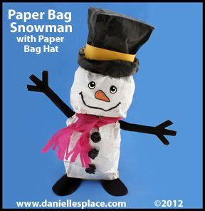 paper bag snowman with paper bag hat craft for from