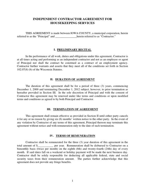 termination letter format for housekeeping contract housekeeping contract independent contractor contracts