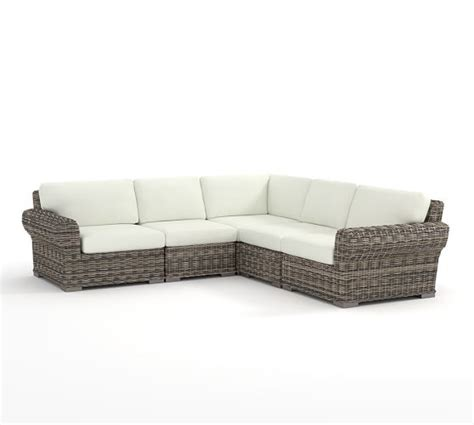 all weather wicker sectional huntington all weather wicker roll arm sectional set