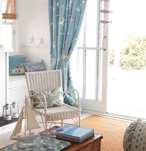 seaside themed curtains soft blue white decor ideas to turn your living room