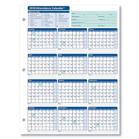 Employee Attendance Calendar 2018 Free Tracker Pdf Excel Template Section Free 2018 Employee Attendance Calendar Templates At Allbusinesstemplates