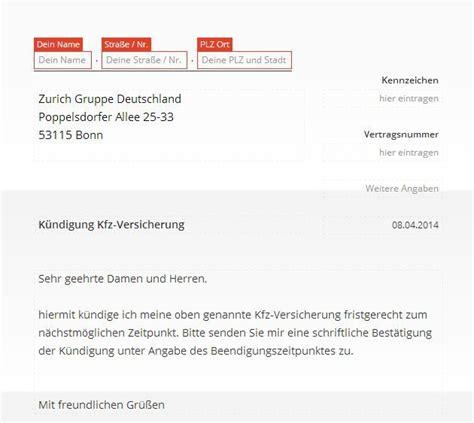 Offizielle E Mail Englisch Zurich Kfz Versicherung K 252 Ndigung Vorlage Chip