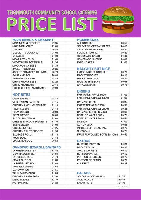 catering price list template 2014 calendar calendar template 2016