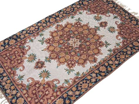 chain stitch rugs chain stitch embroidered rug floral kashmir wall carpet crewel tapestry ebay