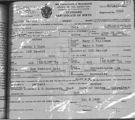 Boston Birth Records The Birth Certificate Of Malachi York In The Boston Records It Says Just York For The