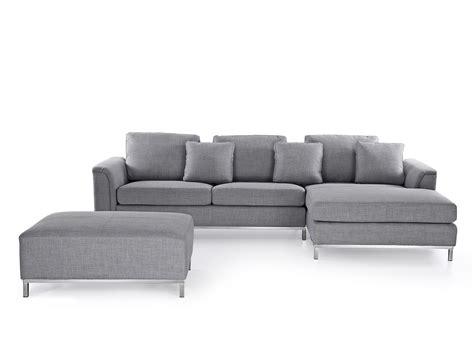 divano ottomana divano angolare in tessuto grigio chiaro con ottomana oslo