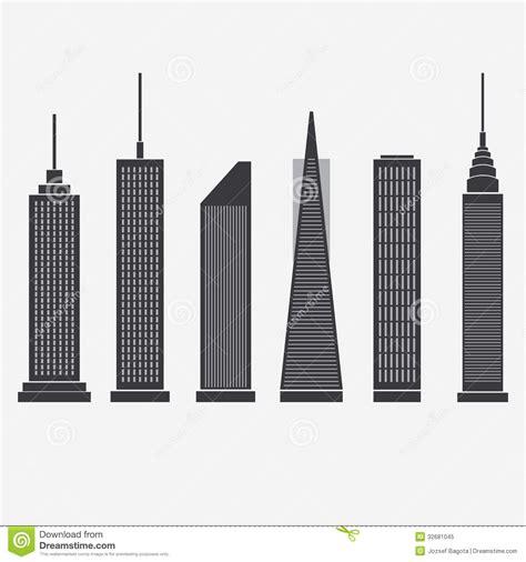 Set Aa Black White skyscraper icons royalty free stock photo image 32681045