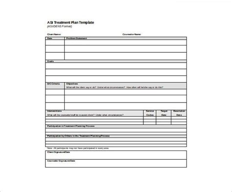 psychotherapy treatment plan template template design