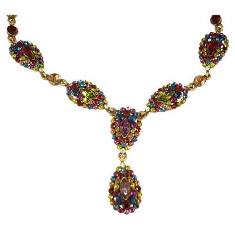 with swarovski crystals vintage style necklace set with swarovski crystals multi