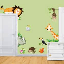 Childrens Animal Wall Stickers Elephant Lion Monkey Giraffe Cartoon Wall Stickers For