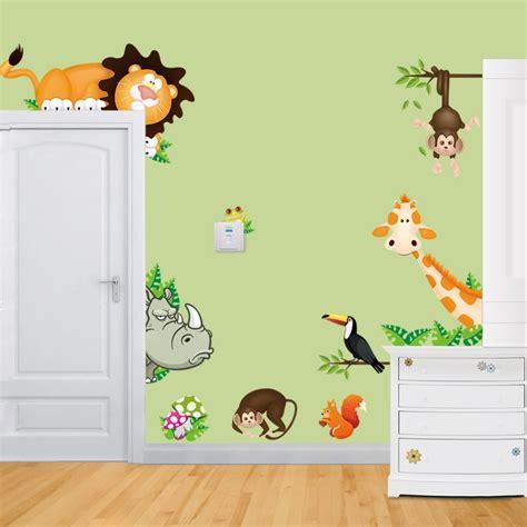 stickers for kids bedrooms elephant lion monkey giraffe cartoon wall stickers for