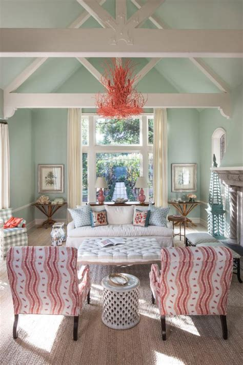 mint green shabby chic living room  coral chandelier