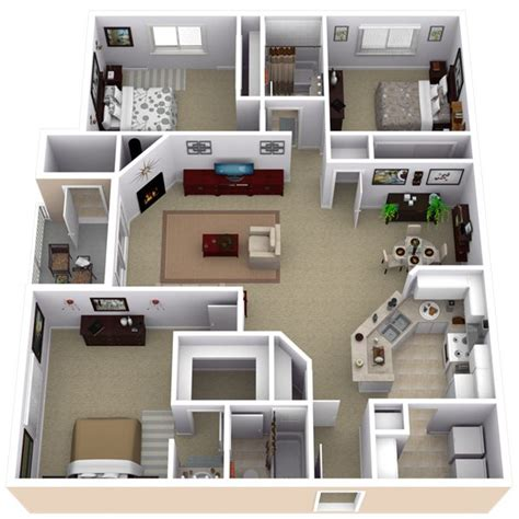 3 Bedroom Appartments by Repined Two Bedroom Apartment Layout Pinteres
