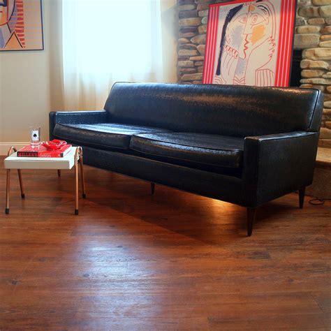 50s Vintage Midcentury Modern Sofa Fabulous Black Faux Lea 50s Modern Furniture