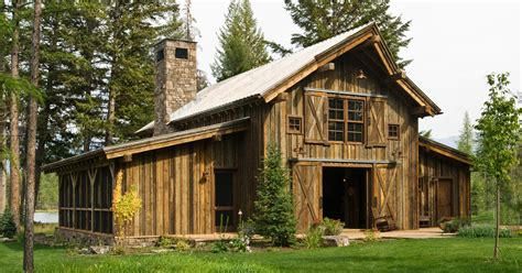 barn style house montana mountain retreat heritage restorations