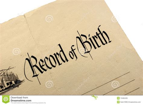 No Record Of Birth Certificate Generic Birth Certificate Royalty Free Stock Photo Image 13485435