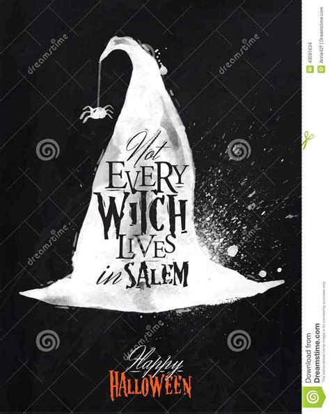 Witch Hat Halloween Poster Chalk Stock Illustration