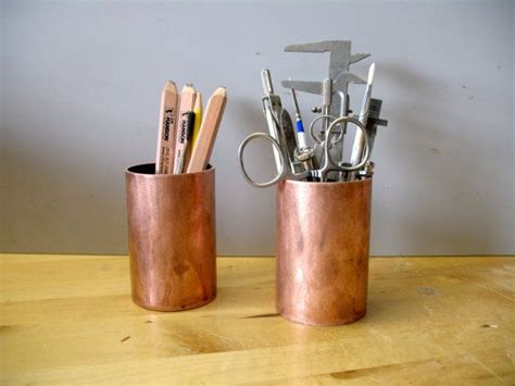 pencil holder desk accessory of upcycled copper pipe