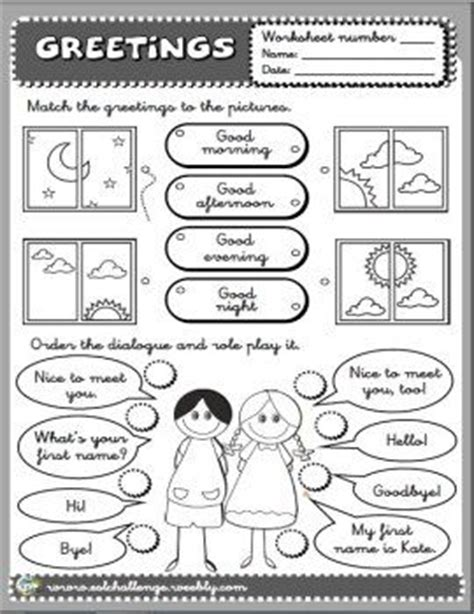 greetings worksheet greetings pinterest student