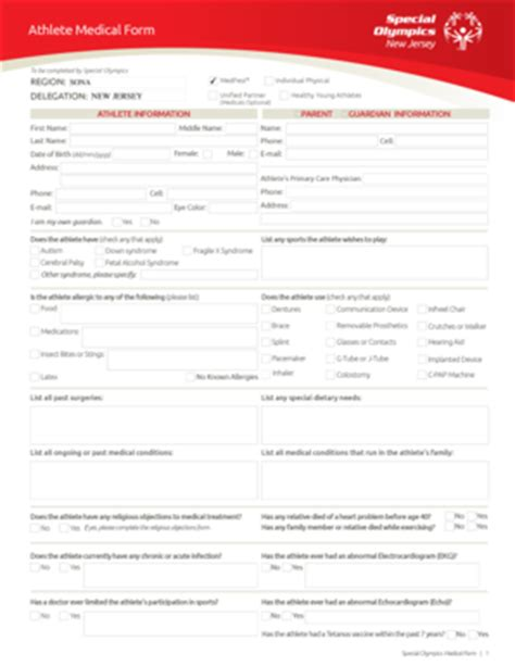 special olympics medical form medical form templates