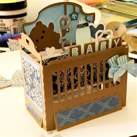 Crib Card Template by Baby Card For A Shower Using The Baby Crib Box Template