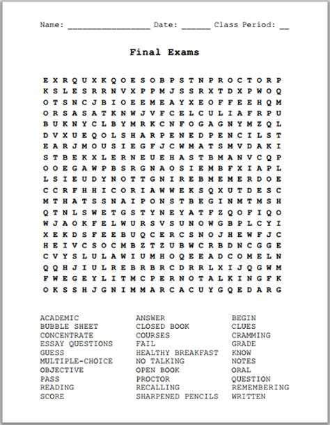 printable word search crossword puzzles final exams free printable word search puzzle k 12