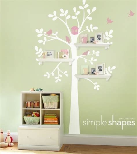 Etsy Nursery Decor Shelving Tree Decal With Birdsby Simple Shapes Contemporary Nursery Decor By Etsy