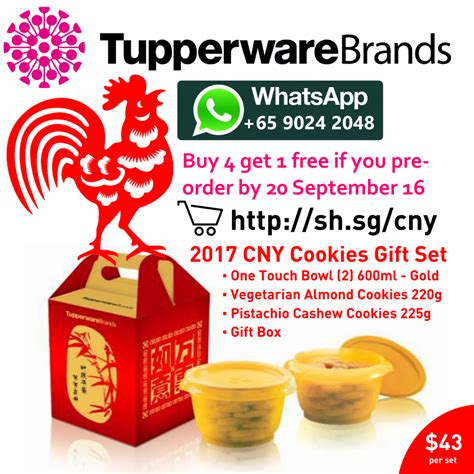 new year gift malaysia tupperware cny cookies gift set 2017 buy 4 get 1 free